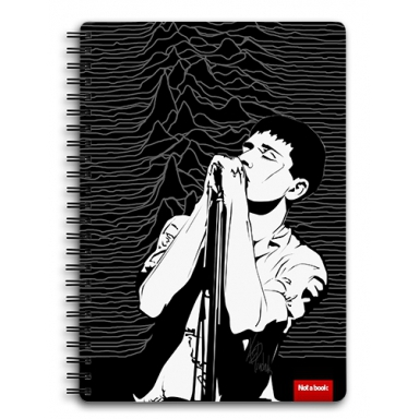 "Блокнот ""Joy Division\"" А5 на пружине, Иллюстрация, Музыка, Графика, декоративная графика, минимализм, декоративный, декор, Монохромный, белый, абстракция, декоративно, абстрактно, черный, портрет, black, white, illustration, компьютерная графика, чб, minimalism, lines, британия, векторная графика, Joy Division, post-punk, Ian Curtis, Джой Дивижн, Йен Кертис, стилизация, music, achromatic, Unknown Pleasures, stylization. portrait, man"